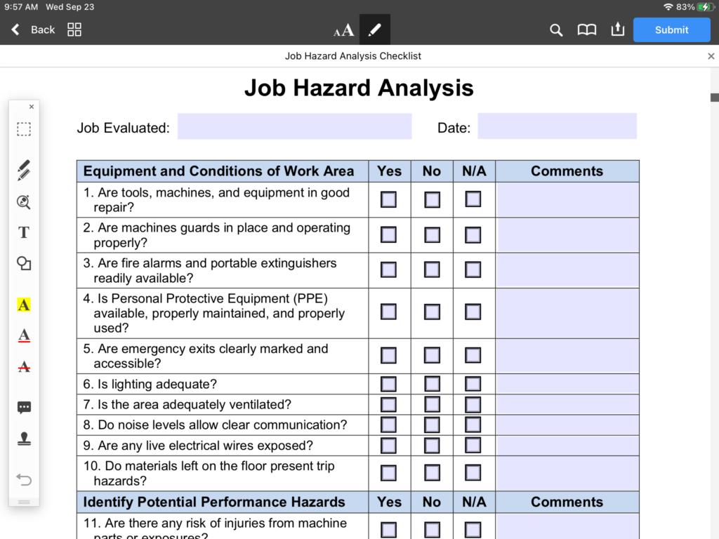 job hazard analysis checklist